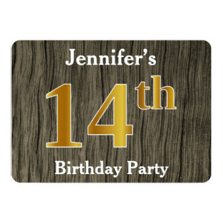 Rustic, Faux Gold 14th Birthday Party; Custom Name Card
