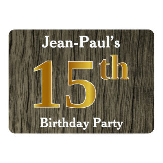 Rustic, Faux Gold 15th Birthday Party; Custom Name Card