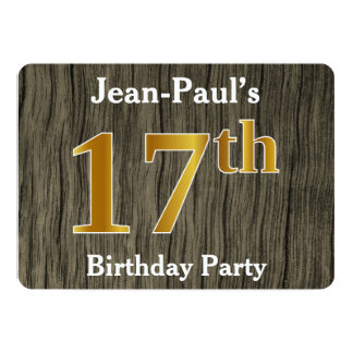Rustic, Faux Gold 17th Birthday Party; Custom Name Card