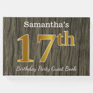 Rustic, Faux Gold 17th Birthday Party; Custom Name Guest Book