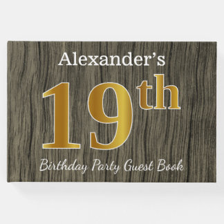 Rustic, Faux Gold 19th Birthday Party; Custom Name Guest Book