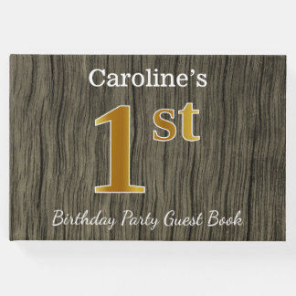 Rustic, Faux Gold 1st Birthday Party + Custom Name Guest Book