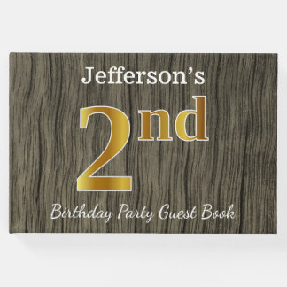 Rustic, Faux Gold 2nd Birthday Party + Custom Name Guest Book