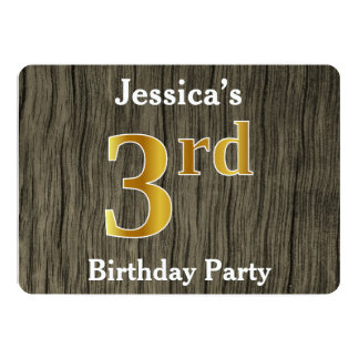 Rustic, Faux Gold 3rd Birthday Party; Custom Name Card