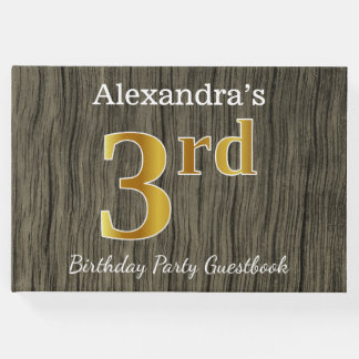Rustic, Faux Gold 3rd Birthday Party + Custom Name Guest Book