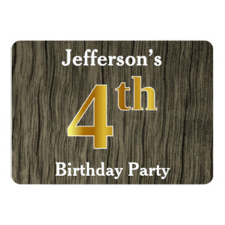 Rustic, Faux Gold 4th Birthday Party; Custom Name Card