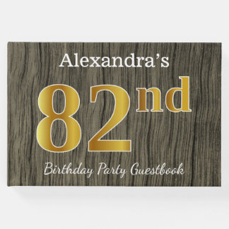 Rustic, Faux Gold 82nd Birthday Party; Custom Name Guest Book