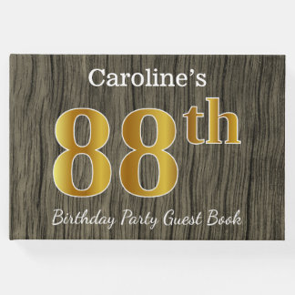 Rustic, Faux Gold 88th Birthday Party; Custom Name Guest Book