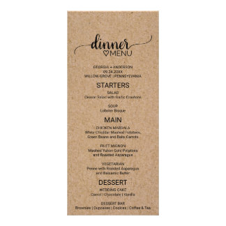 Rustic Faux Kraft Paper Calligraphy Wedding Menu