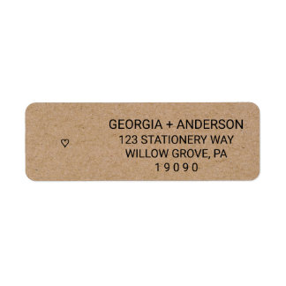 Rustic Faux Kraft Paper Modern Heart Wedding Return Address Label