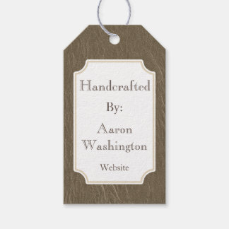 Rustic Faux Leather Handcrafted Art Gift Tag
