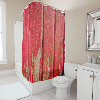Rustic Faux Printed Red Wood Shower Curtain