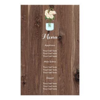 Rustic Faux Wood with Flower Mason Jar 14 Cm X 21.5 Cm Flyer