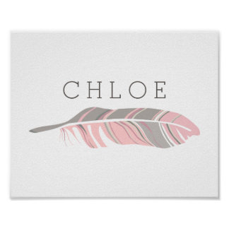 Rustic Feather | Pink Personalized Name Wall Art Poster