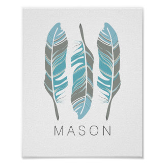 Rustic Feathers Stay Wild Personalized Wall Art Poster
