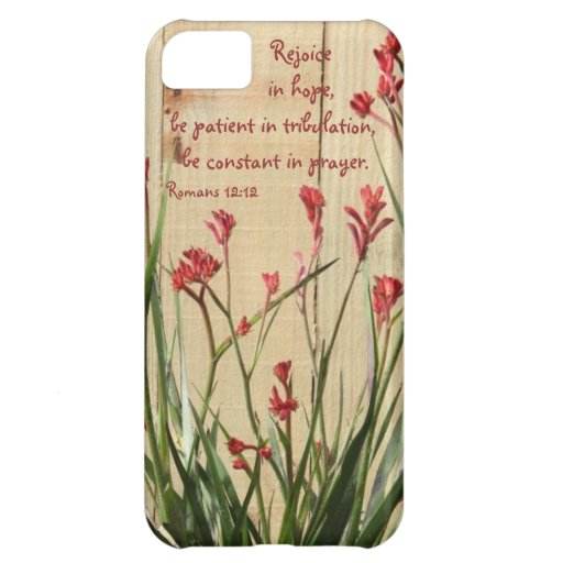 Rustic Fence, Bible Verse about Hope, Romans 12:12 iPhone 5C Case
