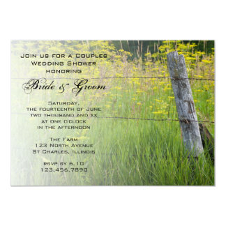 """Rustic Fence Post Country Couples Wedding Shower 5"""" X 7"""" Invitation Card"""