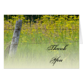 Rustic Fence Post Country Thank You Note Card