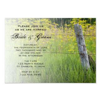 "Rustic Fence Post Country Wedding Invitation 5"" X 7"" Invitation Card"