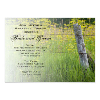 """Rustic Fence Post Country Wedding Rehearsal Dinner 5"""" X 7"""" Invitation Card"""