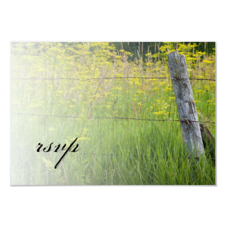Rustic Fence Post Country Wedding RSVP Card 9 Cm X 13 Cm Invitation Card