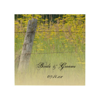 Rustic Fence Post Country Wedding Wood Canvas