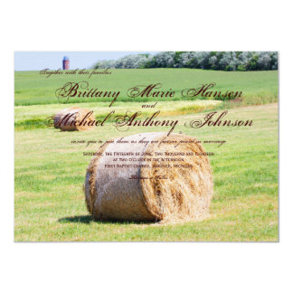 Rustic Field Hay Bales Country Wedding Invitations