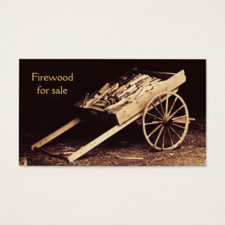 rustic firewood wagon - firewood for sale business card
