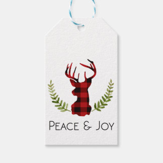 Rustic Flannel Buck   Holiday Gift Tags