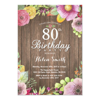 Rustic Floral 80th Birthday Invitation for Women
