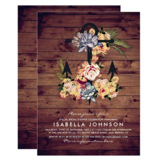 Rustic Floral Anchor   Elegant Bridal Shower Card