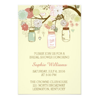 Rustic Floral and Mason Jar Bridal Shower 9 Cm X 13 Cm Invitation Card