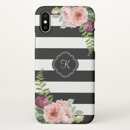 Rustic Floral and Stripes Pattern with Monogram iPhone X Case