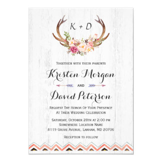 Rustic Floral Antler White Wood Boho Decor Wedding 13 Cm X 18 Cm Invitation Card