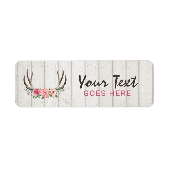Rustic Floral Antlers Shabby Chic Roses & Wood Return Address Label