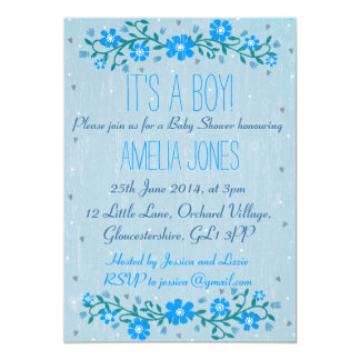 "Rustic Floral Baby Shower Invitation - Boy 5"" X 7"" Invitation Card"
