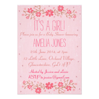 Rustic Floral Baby Shower Invitation - Girl