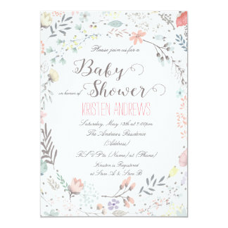 Rustic Floral Baby Shower Invitation II