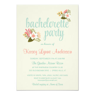 Rustic Floral Bachelorette Party Invitations