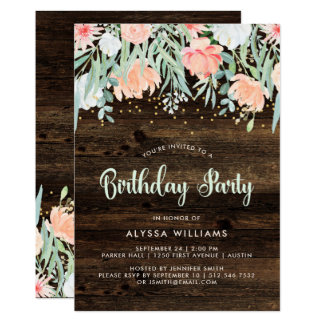 Rustic Floral | Birthday Party Invitation