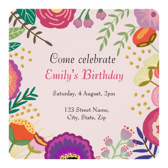 Rustic Floral Bloom Birthday Party Card