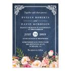 Rustic Floral Blue Chalkboard Formal Wedding Card