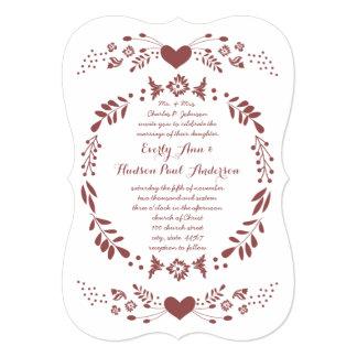 Rustic Floral Bohemian Boho Folk Art Wedding Card