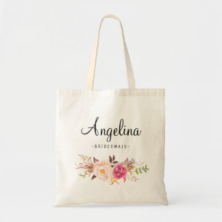 Rustic Floral Bridesmaid Personalized-05 Tote Bag