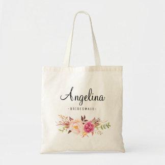 Rustic Floral Bridesmaid Personalized-05 Tote Bag
