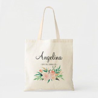 Rustic Floral Bridesmaid Personalized-06 Tote Bag