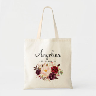 Rustic Floral Bridesmaid Personalized Tote Bag