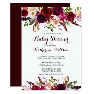 Rustic Floral Burgundy Marsala Baby Shower Card