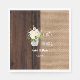 Rustic Floral Burlap Old Barn I DO Barbecue Disposable Serviette