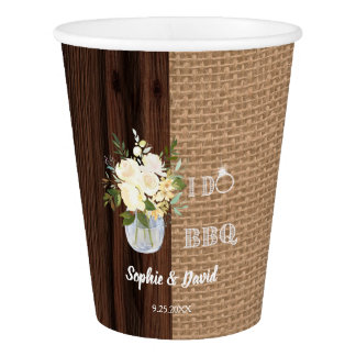 Rustic Floral Burlap Old Barn I DO Barbecue Paper Cup
